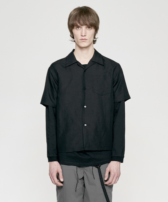 SOLID LINEN SHIRT black